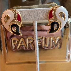 Vintage Avon Paisley Enamel Pierced Earrings